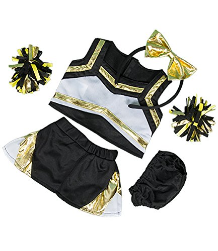 Softest Toy Bow (Metallic Gold & Black Cheerleader Teddy Bear Clothes Outfit Fits Most 14