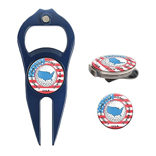 Hat Trick Openers 6-in-1 Golf Divot Tool & Hat Clip Set with USA Logo, Navy