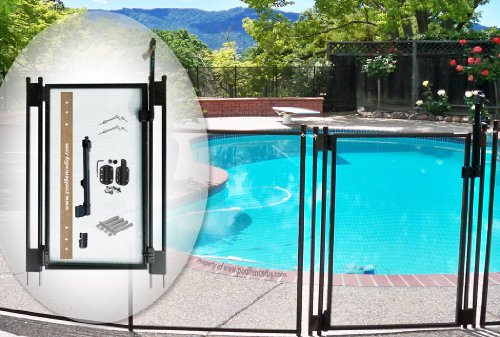 Swimming Pool Fence Kit (Pool Fence DIY by Life Saver Self-Closing Gate Kit, Black)