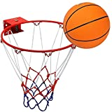 Ruilynn Solid Basketball Ring Hoop with Net & Rubber Ball and Wall Mounting Bracket for Children Kids (Red/White, Hoop: 32cm/12.6')