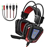 TaoTronics Gaming Headset with Noise Isolating Mic and LED Light, 50mm Driver and Included 3.5mm Adapter, Wired Gaming Headphones for Computer Laptop, PS4, Xbox One, PSP, Smartphone, and More