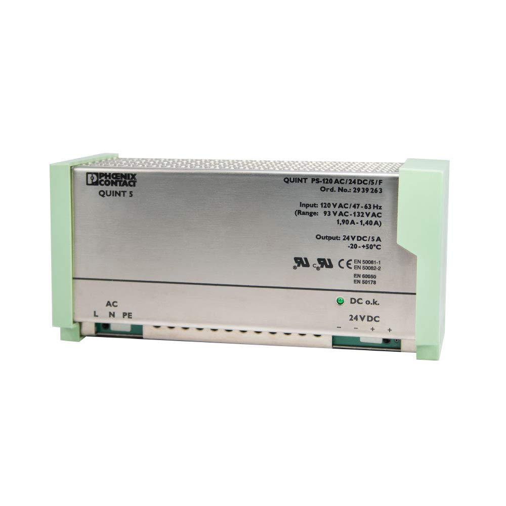 QUINT-PS-120AC//24DC//5//F DIN Rail Power Supply Phoenix Contact 2939263 Renewed