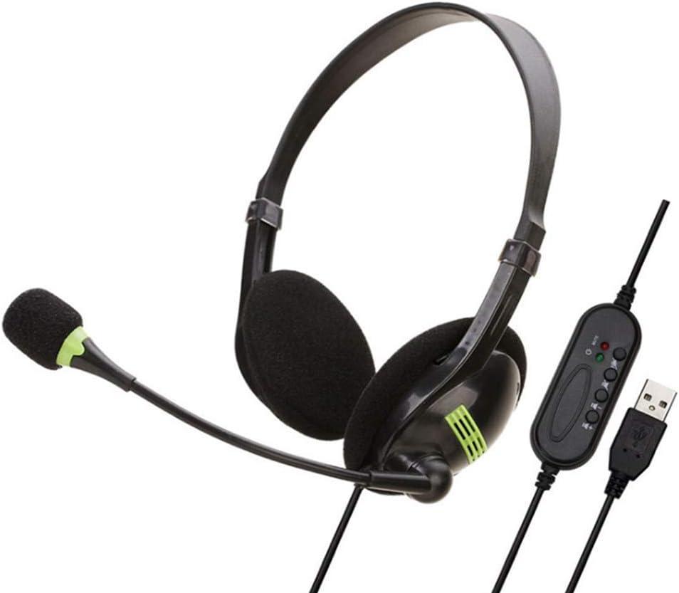 nakw88 Ordenador Auriculares Cascos, Teléfono Auriculares USB o 3.5mm Integrada Unidireccional Micrófono para Escritorio Portátil PC en Línea Clase Meeting