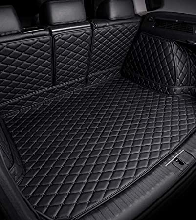 Bonus-Mats Custom Fit All-Weather Full Coverage Waterproof Car Cargo Liner Trunk Mat for Mercedes Benz GLE300d GLE320 GLE350 GLE400 GLE450 GLE43 GLE63 2015-2019 Black with Gold Stitching