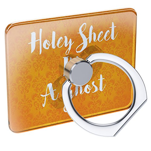 Cell Phone Ring Holder Holey Sheet It's A Ghost Halloween Orange Wallpaper Collapsible Grip & Stand -