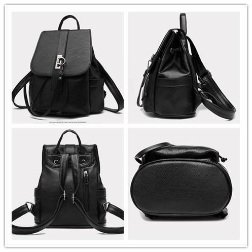 HQYSS Bolsos para mujer PU cuero Coreano Casual Vertical sección relieve Color sólido mochila mujer bolsa , white black