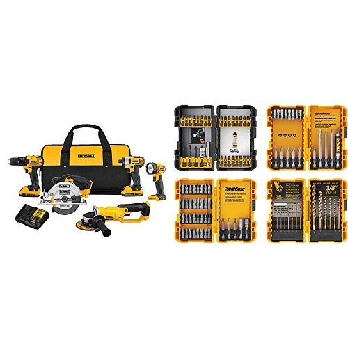 DEWALT 20V MAX Combo Kit Compact 5-Tool DCK521D2 with DEWALT DWA2FTS100 Screwdriving and Drilling Set 100 Piece