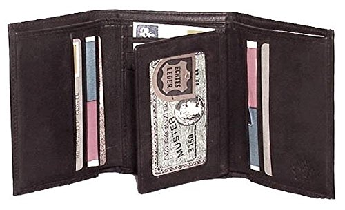 Genuine Cowhide Leather Tri Fold Wallet