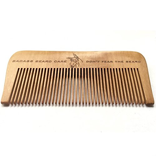 Badass Beard Care Wood Beard Comb for Men – Fine Tooth, Anti-Static