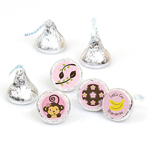 Pink Monkey Girl - Baby Shower or Birthday Party Round Candy Sticker Favors - Labels Fit Hershey's Kisses (1 Sheet of 108) -