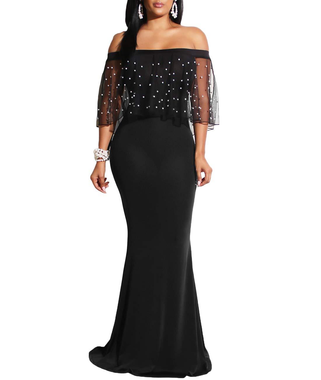1ba9e41d3db Home Brands Lalagen Dresses Lalagen Women Plus Size Off Shoulder Mermaid Party  Dress Formal Evening Gown Black L.   