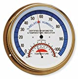 Abbeon HTAB-176 Humidity and Temperature Dial Indicator with White Face and Brass Case