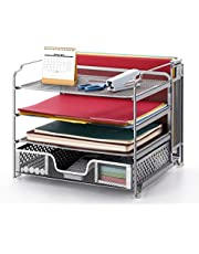 $25 » Simple Trending 4-Trays Mesh Office Supplies Desk Organizer, Desktop File Holder with Drawer Organizer and Vertical Upright Section for Office Home