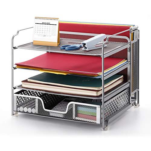 Simple Trending 4-Trays Mesh Office Supplies Desk Organizer, Desktop Hanging File Holder with Plastic Drawer Organizer…