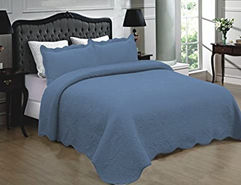 Mk Collection 3pc Quilted bedspread Embroidery Solid 100% Cotton New (King, Blue) - Blue Color Cotton