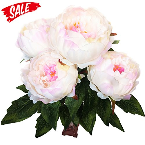 Hovebeaty Artificial Peony Silk Flowers Bouquet Home Wedding Decoration (pink)