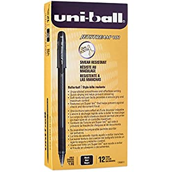 Uni-Ball Jetstream 101 Ball Point Pens, Bold Point, Black Ink, 12-Count