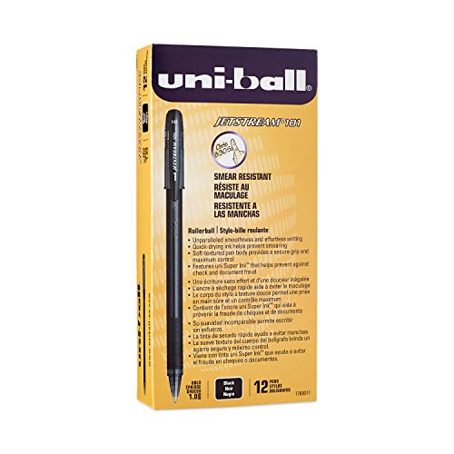 Ballpoint Bold Black Ink (Uni-Ball Jetstream 101 Ball Point Pens, Bold Point, Black Ink, 12-Count)