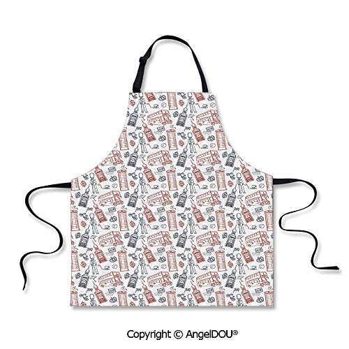 SCOXIXI Printed Unique Cool Kitchen Apron Popular English Icons Collection Country Culture Tourist Attraction Decorative Home Cooking Baking Waist Bib.]()