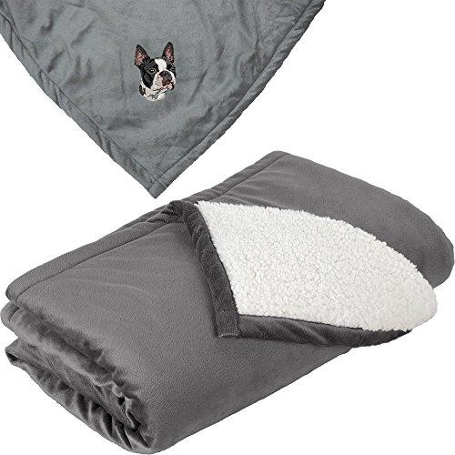 Cherrybrook Dog Breed Embroidered Mountain Lodge Reversible Blanket - Gray - Boston Terrier