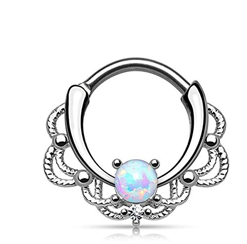 Stainless Steel Lacey Single Opal 16g Septum Clicker Ring - Choose Blue, White, Pink or Purple Synthetic Opal (White)
