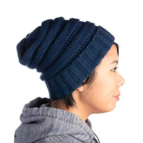 DG Hill Winter Hat For Women, Slouchy Beanie Hat, Chunky Knit, Ribbed Lightweight Soft Warm & Cute For Ladies & Teen Girls, Holiday Or Christmas Gift, Blue, One Size (Christmas Stockimg)