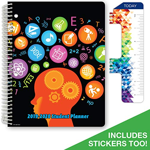 """Dated Middle School or High School Student Planner for Academic Year 2019-2020 (Matrix Style - 7""""x9"""" - Subjects Cover) - Bonus Ruler/Bookmark and Planning Stickers"""