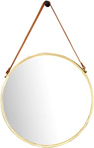 HUAXUE Bathroom Furniture/Bathroom Mirrors/Makeup Mir Round Decorative Mirror for Wall with Hanging Strap, Wall Hanging Mirror Unique Home Décor for Bathroom, Office, or Hallway, Large