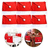 StyleZ 6PCS Santa Hat Chair Covers Chair Back Decoration Christmas Festive Home Dinner Table Kitchen Party Decor