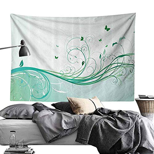 Commemorative Tapestry Turquoise Illustration of Floral Victorian Style Curvy Lines Wave Water Butterfly Pattern Design Bedroom Home Decor W60 x L40 s ()