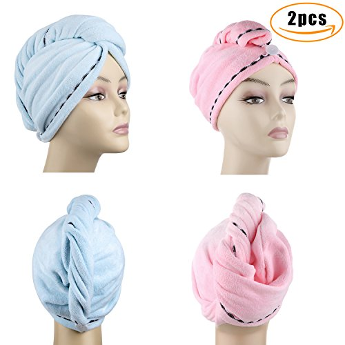 Microfiber Hair Drying Towels, Fast Drying Hair Cap, Long Hair Wrap,Absorbent Twist Turban, Pink,Light Blue (2 pack) … by DHMAKER