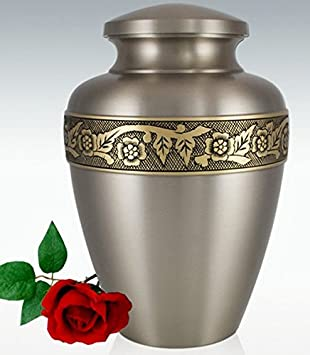 Liliane Memorials Ixelles Brass Funeral Cremation Urn with an Engraved Band of Flowers and Vines, Large 200 lb, Silver