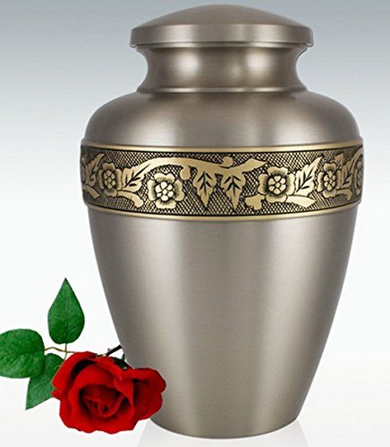 Silver Funeral Urn by Liliane Memorials - Cremation Urn for Human Ashes - Hand Made in Brass - Suitable for Cemetery Burial or Niche- Large Size fits remains of Adults up to 200 lbs- Ixelles Model