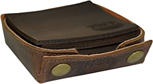 Hide & Drink, Durable Thick Leather Square Box Set Coasters (6-Pack) Handmade Includes 101 Year Warranty :: Bourbon Brown