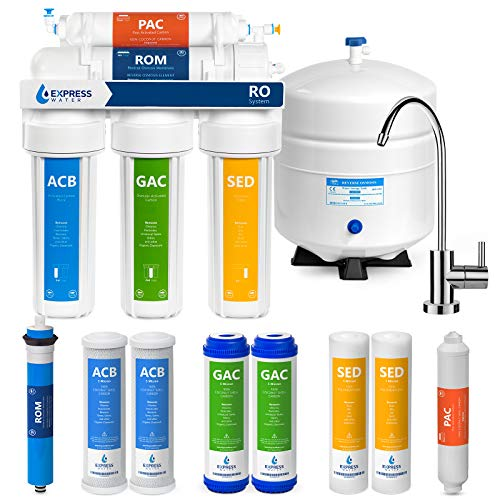Express Water Reverse Osmosis Water Filtration System - 5 Stage RO Water Purifier with Faucet and Tank - Under Sink Water Filter - Plus 4 Replacement Filters - 100 GPD