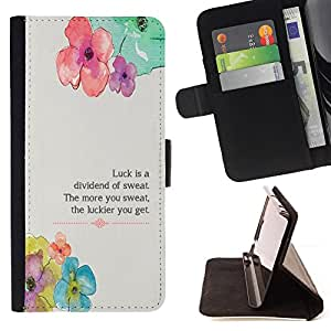 DEVIL CASE - FOR HTC One M8 - Floral Flower Spring Poem Message - Style PU Leather Case Wallet Flip Stand Flap Closure Cover