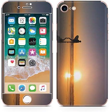 igsticker iPhone SE 2020 iPhone8 iPhone7 専用 スキンシール 全面スキンシール フル 背面 側面 正面 液晶 ステッカー 保護シール 001160 アニマル サーフィン 夕日