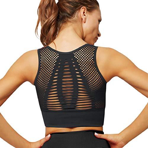 heekpek Sportbeha voor dames, yoga-beha, top, sportbeha, zonder beugel, naadloos uitgesneden bustier, beha voor fitness…