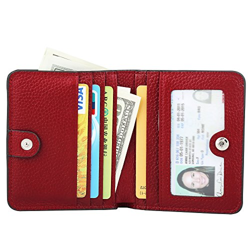 GDTK RFID Blocking Wallet Women's Small Compact Bifold Leather Purse Front Pocket Mini Wallet (Wine Red) by GDTK (Image #2)