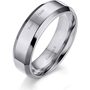 (Free Engraving) 6MM Stainless Steel Personalized Plain Band Ring for Men and Women,