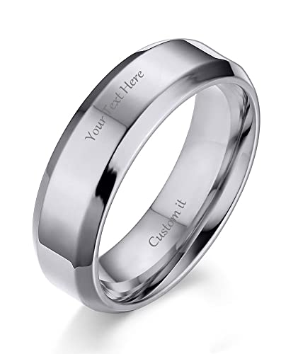 432af5859c VNOX (Free Engraving) 6MM Stainless Steel Personalized Plain Band Ring for  Men and Women