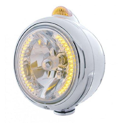 "UPI 32426 Chrome ""GUIDE"" Headlight - 34 Amber LED H4 Bulb w/ Dual Function Amber LED/Amber Lens"