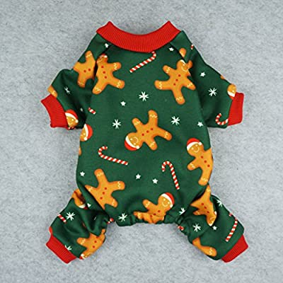 Fitwarm Christmas Gingerbread Man Pet Clothes for Dog Pajamas Jumpsuit Coats Green