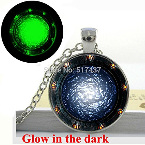 Pretty Lee Glow In The Dark Necklace Pendant Star Gates Portal Sg1 Necklace Art Print Glass Dome Glowing Jewelry Fashion For Girl 453 Glasses