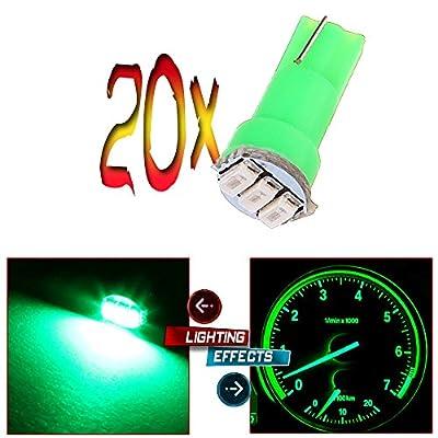 20x T5 17 74 73 Instrument Gauge Cluster Dash LED Bulbs Indicator Light (Green): Automotive