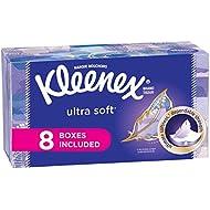Kleenex Ultra Soft Facial Tissues, Flat Box, 130 Tissues per Flat Box, 8 Packs