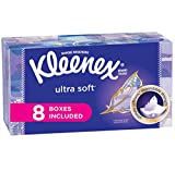 #2: Kleenex Ultra Soft Facial Tissues 130 Count (Pack of 8), Disposable Facial Tissues, Gentle and Durable, 3-Ply Thickness, Designs May Vary