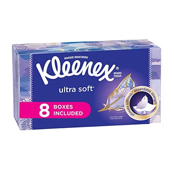 Kleenex-Ultra-Soft-Facial-Tissues-Flat-Box-130-Count-per-Flat-Box-8-Packs