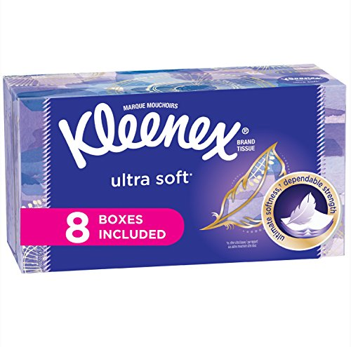 (Kleenex Ultra Soft Facial Tissues, Flat Box, 130 Tissues per Box, 8 Pack (1,040 Tissues Total))