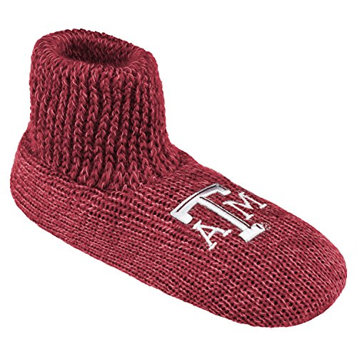 Box Lined Gift Team (NCAA Texas A&M Aggies Ribbed Cuff Wool Blend Slipper Socks, Small, Red)